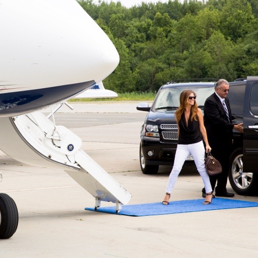 Walking onto the private jet